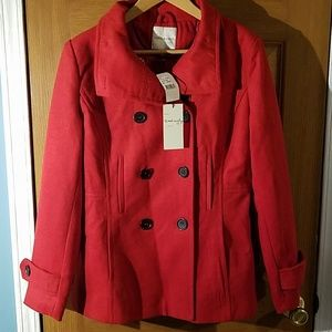 New Thread & Supply Red Peacoat Jacket Sz S